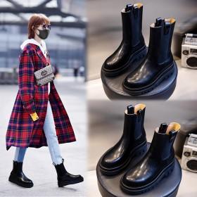 高品质优质真皮牛皮女靴中筒靴马丁靴女网红爆款靴