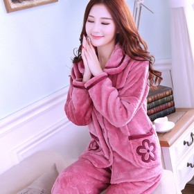 秋冬睡衣女珊瑚绒加厚女士法兰绒套装长袖大码中老年冬