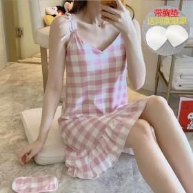 新款吊带睡裙女夏季带胸垫清新可爱学生韩版睡衣可外