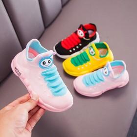 女童针织鞋春秋季毛毛虫鞋子宝宝保暖袜子鞋儿童运动鞋