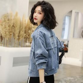 牛仔外套女春秋新款韩版宽松时尚洋气短款刺绣上衣