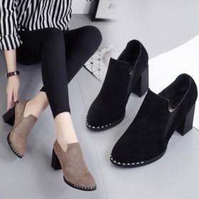 春秋新款单鞋高跟粗跟磨砂女靴韩版高跟鞋女鞋子中跟