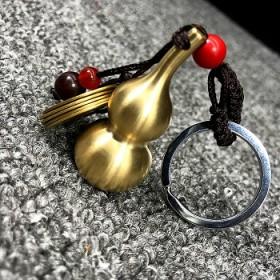 黄铜葫芦钥匙扣纯铜空心葫芦五帝钱汽车钥匙扣挂件金属