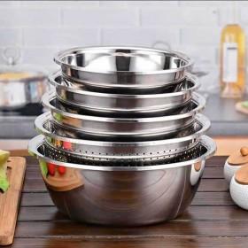 【5件套】不锈钢盆调料缸菜盆漏盆洗菜盆淘米盆