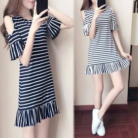夏季新款2020韩版短袖荷叶边连衣裙宽松显瘦条纹