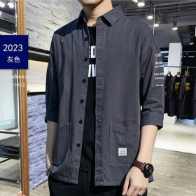 西部英雄100%纯棉七分袖衬衫韩版男宽松大码衬衣