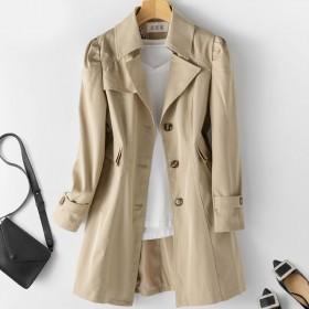 杭州高品质有内衬风衣女春秋外套韩版修身中长款风衣