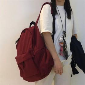 ins书包女韩版网红帆布背包日系纯色大容量双肩包
