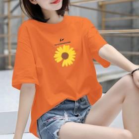 2020夏季纯棉宽松圆领韩版潮流爆款短袖印花t恤女