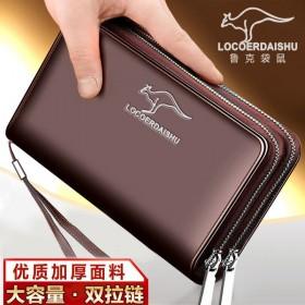 袋鼠钱包男士手包长款手拿包手机包手抓包多卡位拉链