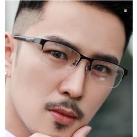 近视眼镜男0-600度半框金属眼镜平光