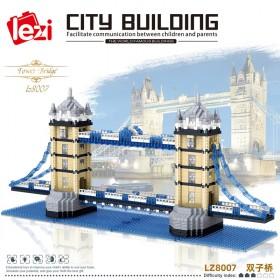 乐高双子桥拼装积木高难度巨大型建筑积木
