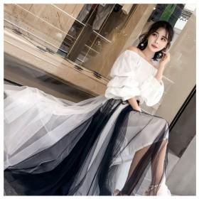 女士黑白相间拼接款中长裙一件