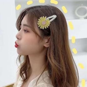韩国新款发饰小雏菊花朵发夹水钻刘海BB边夹水晶
