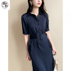 藏青色雪纺衬衫连衣裙女2020秋装新款时尚翻领短袖