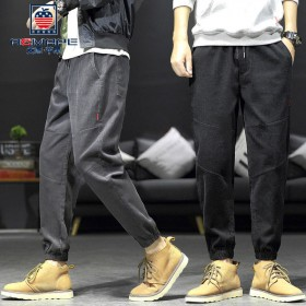 2件美国苹果秋冬灯芯绒裤休闲裤条绒裤大码裤男束脚裤