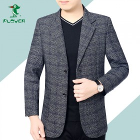啄木鸟中年男西装外套休闲西服修身薄款春秋上衣夹克