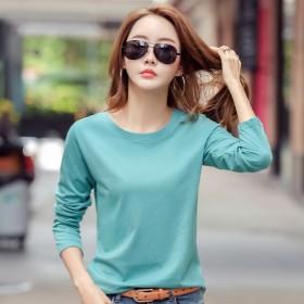 女装纯色长袖T恤2020新款春秋季韩版女士T恤打底