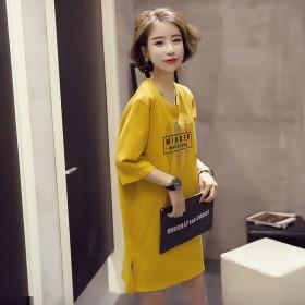 2020夏季韩版新款女装短袖学生宽松中长连衣裙女