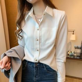 白色衬衫女设计感小众2020秋季新款轻熟衬衣长袖洋
