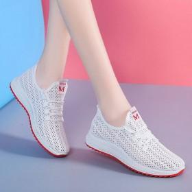 2020新上市女透气运动鞋白色网鞋夏季网面老爹休闲