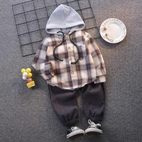 秋季新款洋气衬衫套装小童宝宝儿童长袖两件套