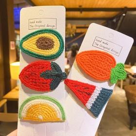 单个包装韩版ins泫雅风儿童针织水果发夹少女宝宝侧