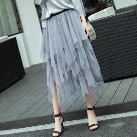 百搭女褶皱网纱半身裙