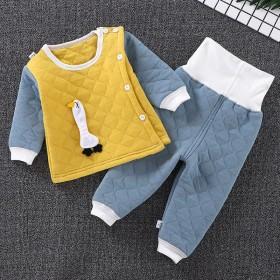 春秋婴儿保暖衣套装男女宝宝三层夹棉内衣儿童秋衣加厚
