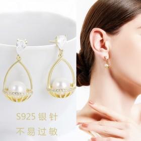 新款气质时尚珍珠耳环潮韩国网红耳坠优雅