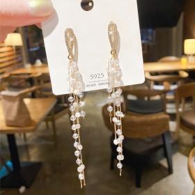韩版气质长款水晶流苏耳环简约超仙显瘦珍珠耳坠耳钉