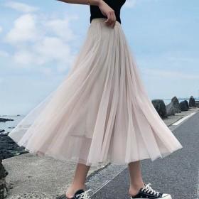 纯色女士褶皱中长裙