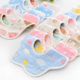 5条装 纯棉口水巾婴儿宝宝纱布围嘴方巾