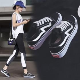 秋款女鞋2020年新款帆布鞋休闲韩版原宿风百搭黑色