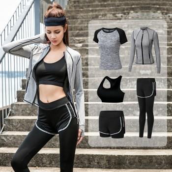 瑜伽服女网红速干运动套装跑步紧身衣显瘦健身服