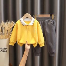 秋季新款男童洋气套装男孩Polo衫两件套