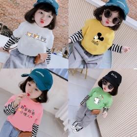 男女宝宝t恤2020春秋装韩版长袖儿童假两件上衣女