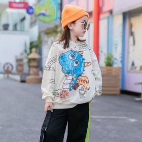 儿童洋气卫衣韩版棉女童百搭长袖上衣休闲时尚套头衫