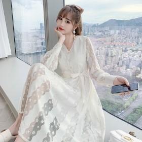 长袖连衣裙秋长款洋气修身气质 薄款纯色法式高腰蝴蝶