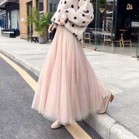 秋冬新款沙裙仙女网纱裙黑色显瘦高腰裙子中长款纱裙