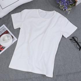 纯色圆领上衣圆领休闲短袖T恤男