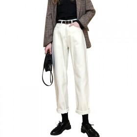 2020秋季杏色牛仔裤女宽松高腰米白色老爹萝卜裤休