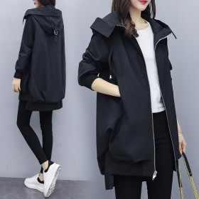 春秋新款韩版卡其连帽风衣女中长款宽松黑色短外套