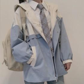 外套女学生韩版宽松小个子学院风工装BF双层风衣夹克