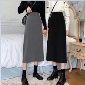 秋装韩版时尚高腰开叉半身裙女新款洋气质显瘦黑色A字