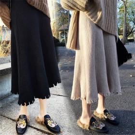 秋季新款高腰半身裙百搭中长款显瘦针织毛线A字裙