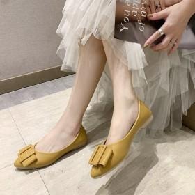 新款真皮单鞋女平底浅口平跟软底舒适孕妇工作鞋