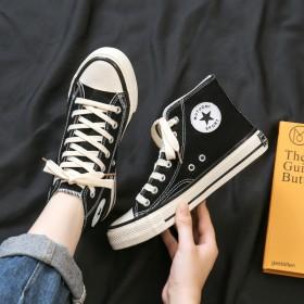 韩版新款高帮帆布鞋男女百搭休闲板鞋时尚胶鞋男女潮流