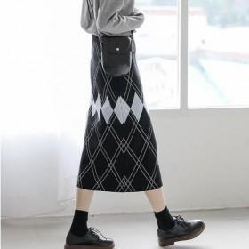 秋季新款格子针织法式半身裙包臀一步裙中长裙子