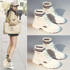马丁靴女鞋秋季新款冬季加绒加棉靴子韩版英伦风短靴